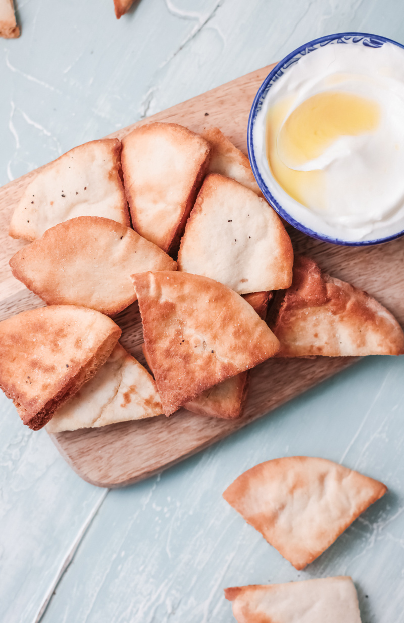 air fryer pita chips made with very little oil and salt for a healthy snack - Air Fryer Pita Chips
