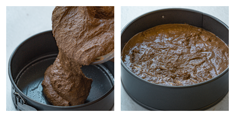 Almond Flour Chocolate Cake putting into pan to bake - Irresitible Gluten Free Almond Flour Chocolate Cake