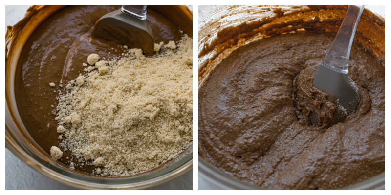 Almond Flour Chocolate cake adding flours to cake mix - Irresitible Gluten Free Almond Flour Chocolate Cake