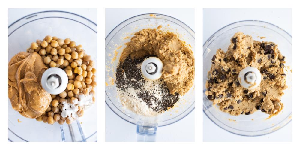 How to make Chickpea Blondie Brownies step by step in a food processor - Chocolate Chip Chickpea Blondie Brownies