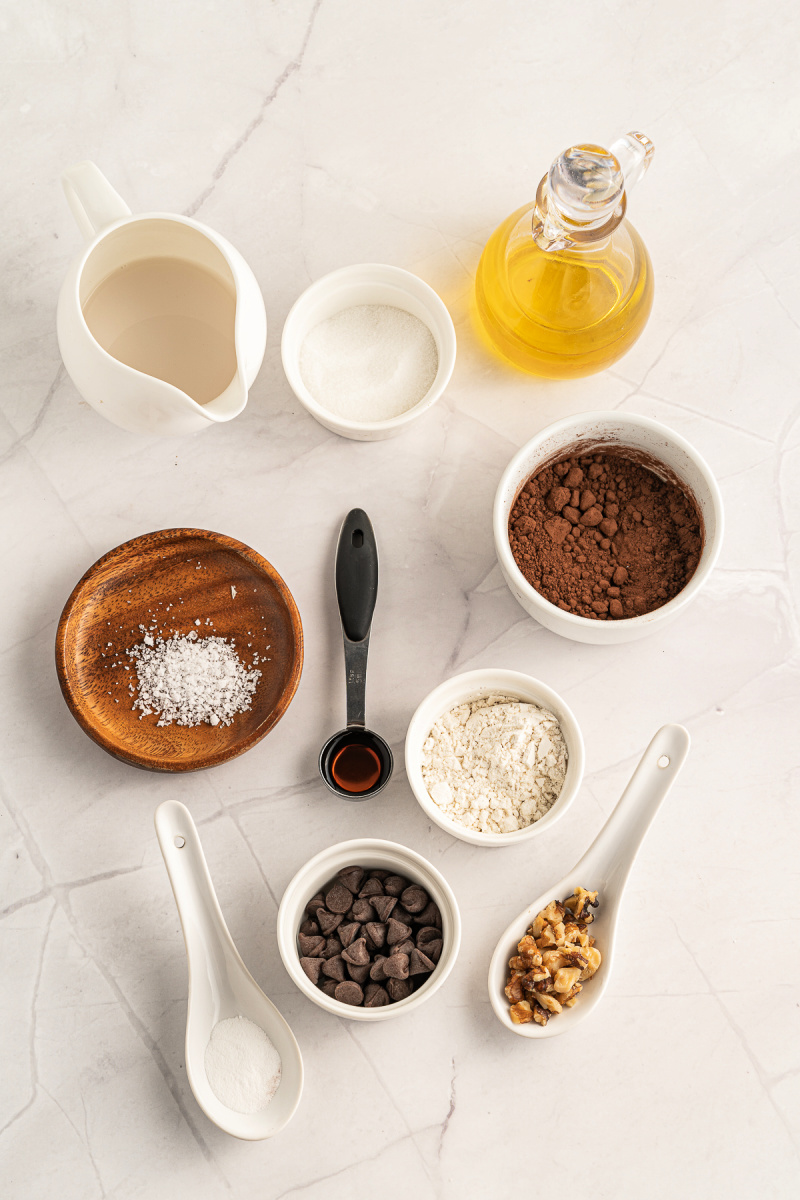 Ingredients needed to make a vegan 60 second chocolate mug cake - Vegan Chocolate Brownie Mug Cake - ready in 60 seconds!