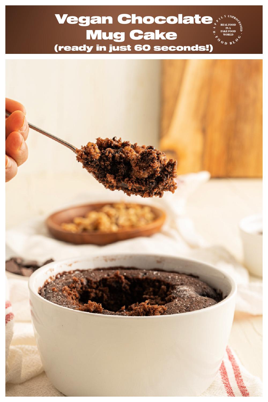 Vegan Chocolate Mug Cake thats ready in just 60 seconds A guilt free dessert - Vegan Chocolate Brownie Mug Cake - ready in 60 seconds!