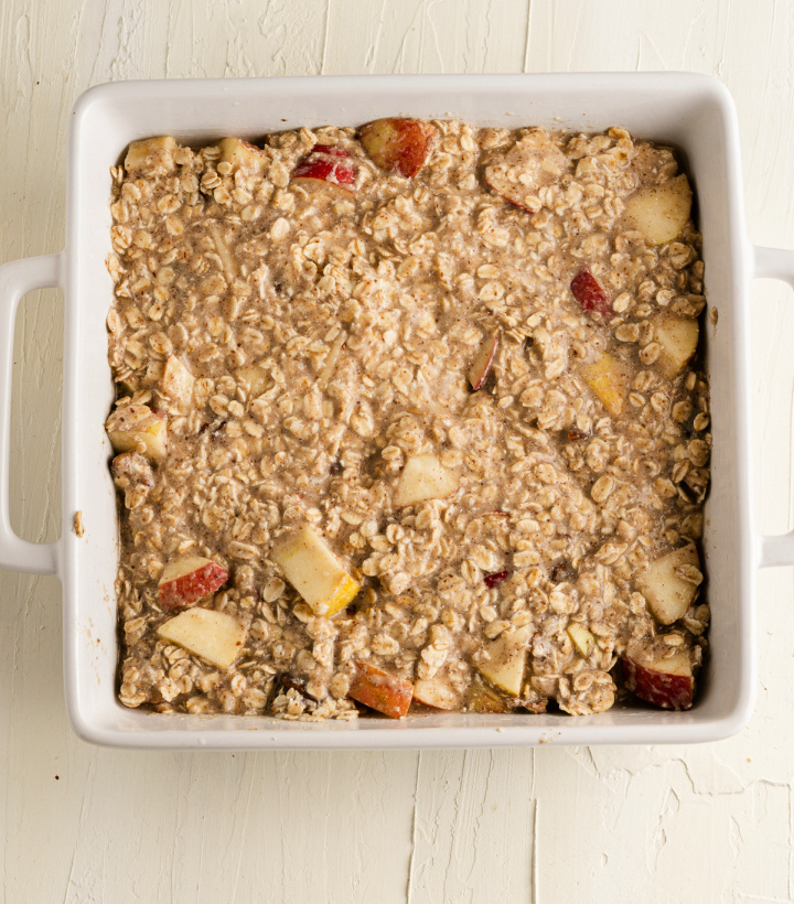 Baked Apple Oatmeal in a square baking dish - Baked Apple Oatmeal