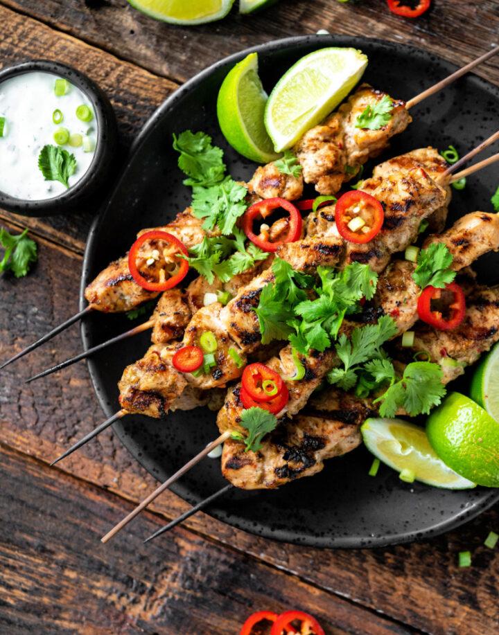 Grilled jerk Chicken recipe with cilantro ranch 720x917 - Grilled Jerk Chicken Kebobs