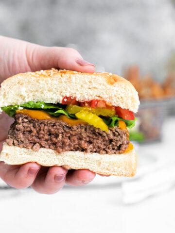 How to make cheddar cheeseburgers using an air fryer 360x480 - Air Fryer Cheeseburgers