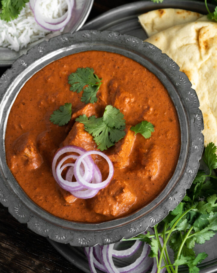 Indian Butter Chicken with naan bread and rice 720x906 - Indian Butter Chicken