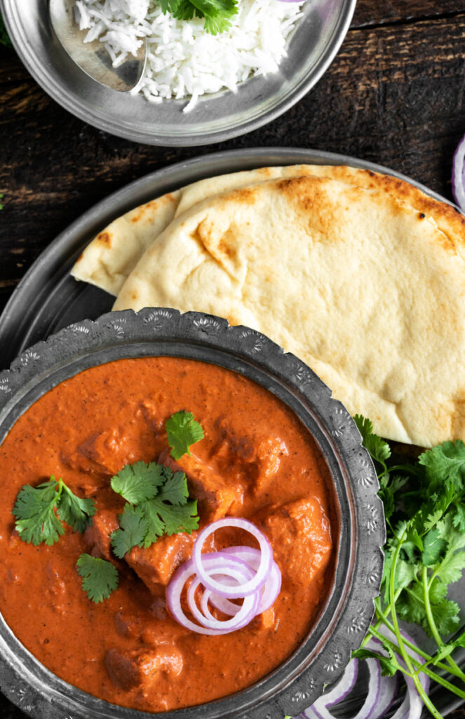 Indian Butter chicken with fresh naan bread 663x1024 - Indian Butter Chicken