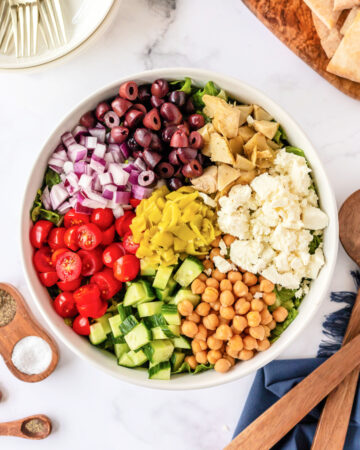 Greek chopped salad in a bowl