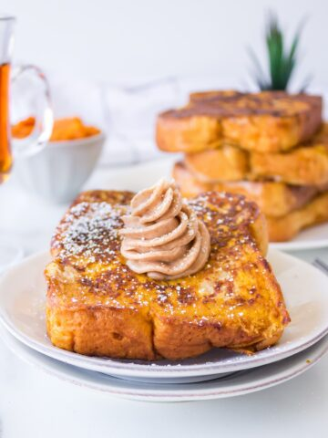 Pumpkin French Toast with homemade whipped cinnamon maple butter