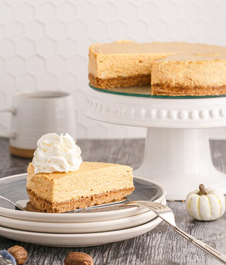 Pumpkin cheesecake recipe 720x845 - Pumpkin Cheesecake (no water bath required)