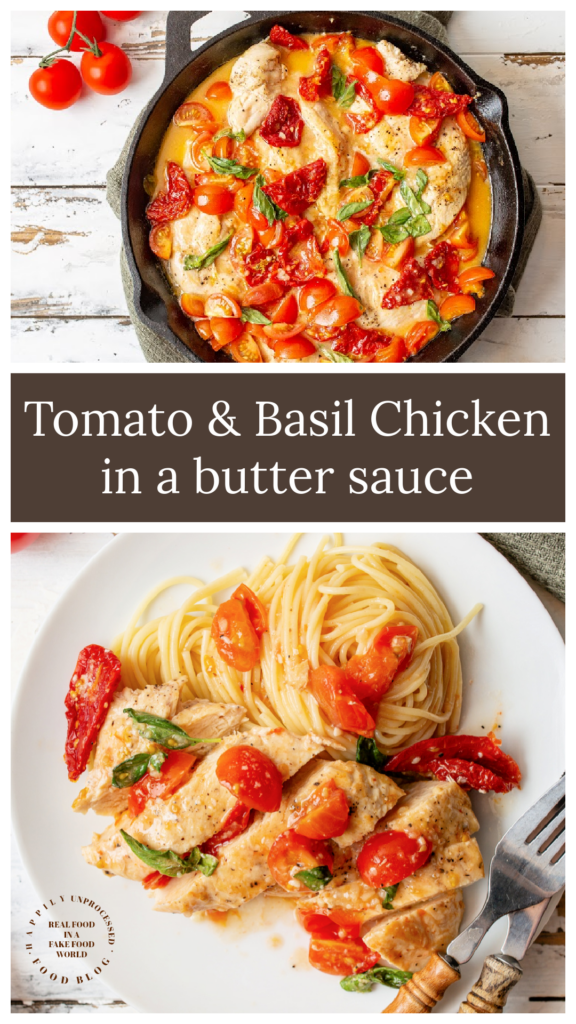 Tomato and Basil Chicken in a butter sauce over pasta 576x1024 - Tomato & Basil Chicken in a Garlic Butter Sauce