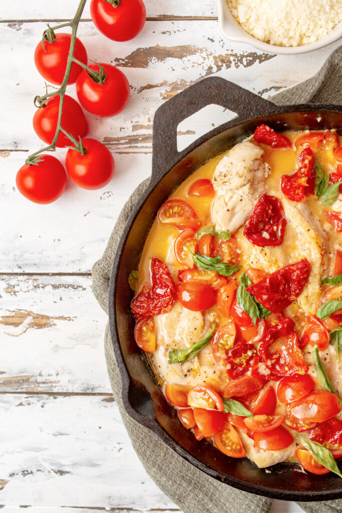 Tomato and Basil Chicken in a white wine sauce over pasta 683x1024 - Tomato & Basil Chicken in a Garlic Butter Sauce