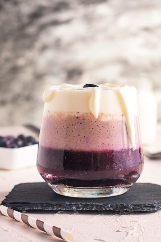 Triple Layered Blueberry Smoothie with Whipped Cream smoothies  683x1024 - Triple-Layered Blueberry Banana Smoothie