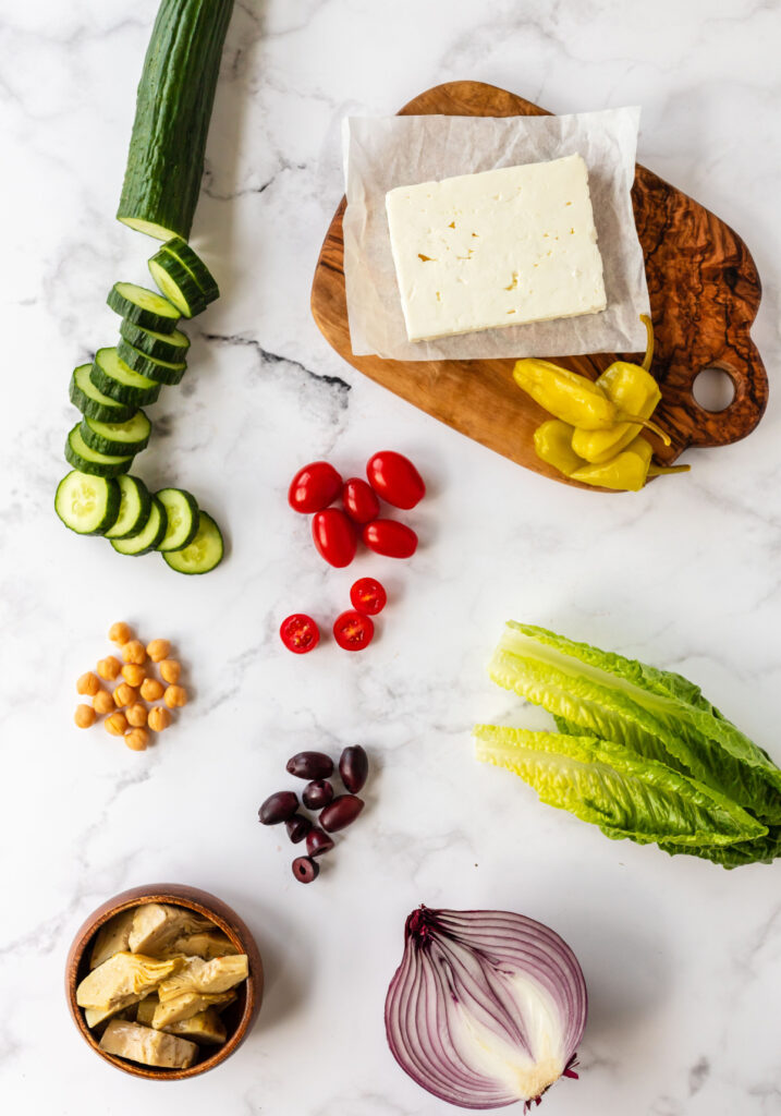 chopped greek salad ingredients 717x1024 - Healthy Chopped Greek Salad with a Zesty Dressing