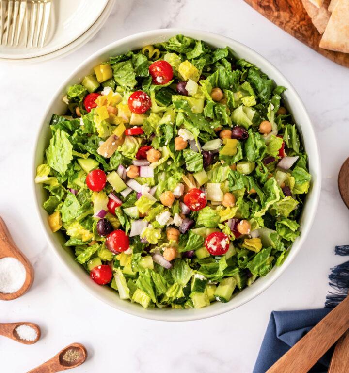 chopped greek salad overhead 720x769 - Healthy Chopped Greek Salad with a Zesty Dressing